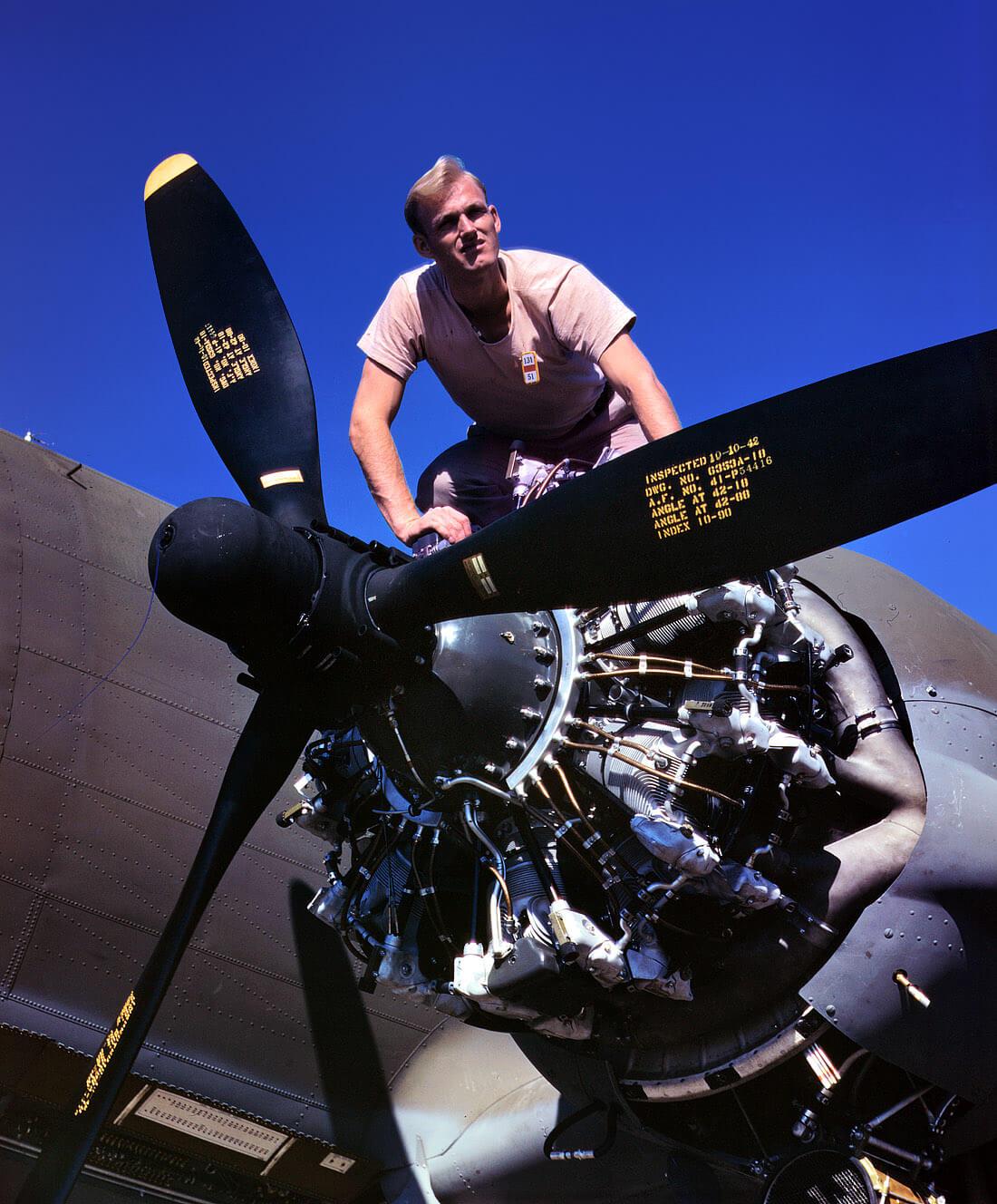 repülőgép, amerikai katona, szerelő